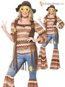 Ladies Hippy Fancy Dress Costume Womens 70s Flower Power Flares Waistcoat Outfit   eBay