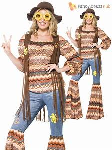 Ladies Hippy Fancy Dress Costume Womens 70s Flower Power Flares Waistcoat Outfit | eBay
