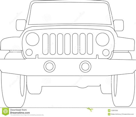 jeep front drawing jeep truck outline stock vector image of travel auto