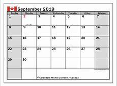 Calendar September 2019, Canada Michel Zbinden en