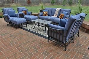 Amia 8 piece luxury cast aluminum patio furniture deep for Aluminum patio furniture sets