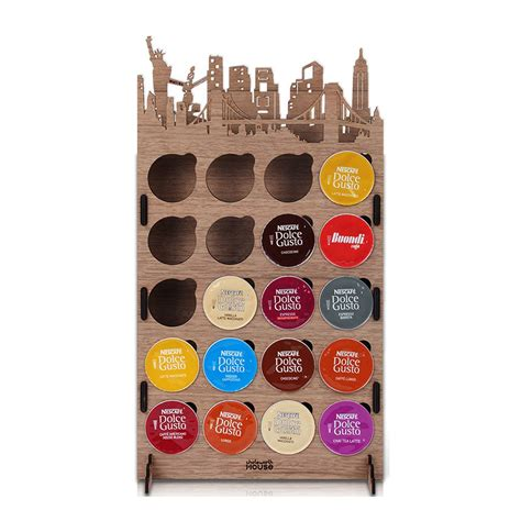details about nescafe dolce gusto wood pod coffee city capsule holder newyork