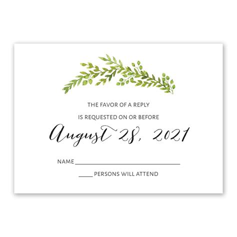 Watercolor Greenery Response Card Invitations By Dawn