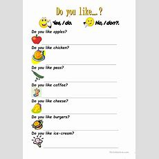 Do You Like? Worksheet  Free Esl Printable Worksheets Made By Teachers