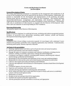 sample event coordinator job description 10 examples in pdf With events manager job description template
