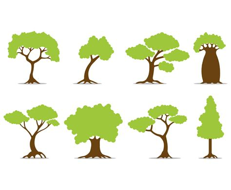 Set Of Tree Vector Icons Vector Art & Graphics