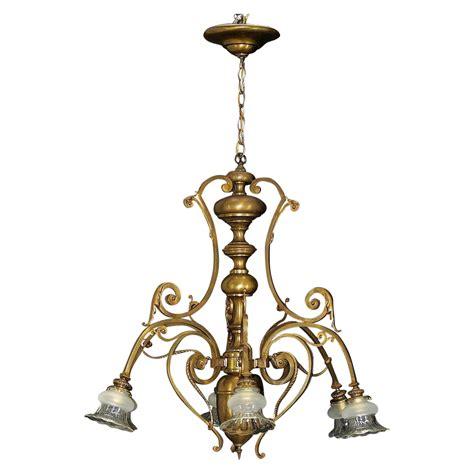 antique large bronze 6 light chandelier cut glass