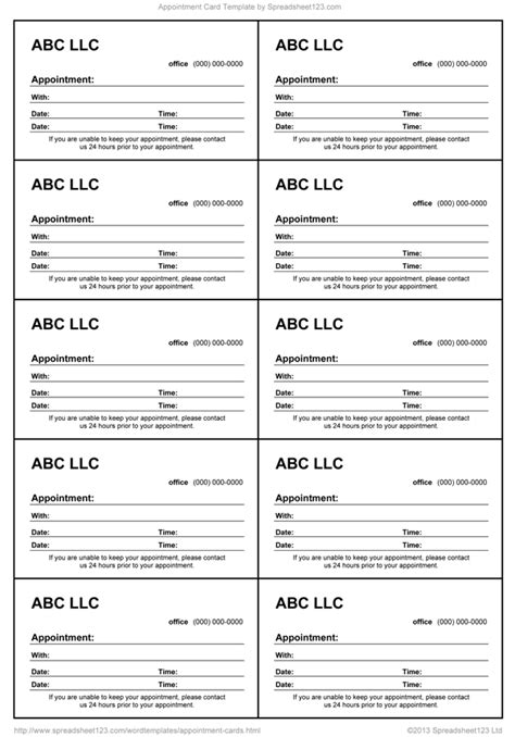 appointment card template  word