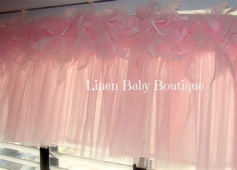 tulle window valance topper pink tulle  feather