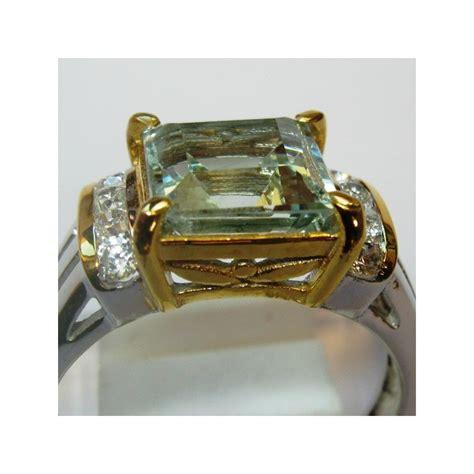 cincin batu permata aquamarine silver 925 ring 7us
