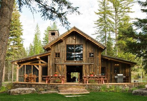 pole barn house exterior rustic  sliding doors