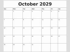 October 2029 Print Out Calendar