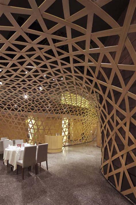 modern restaurant design featuring cool bamboo elements