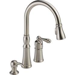 peerless pull out kitchen faucet shop peerless decatur stainless 1 handle pull deck