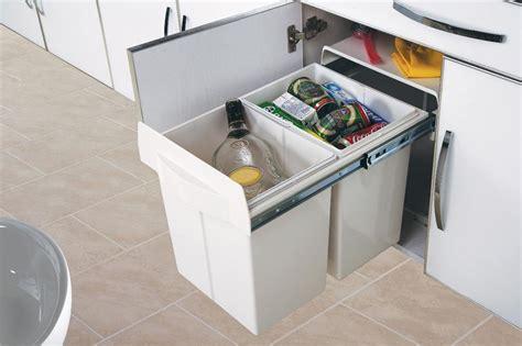 poubelle cuisine tri selectif 3 bacs poubelle de cuisine encastrable 2x20 litres cacpo006
