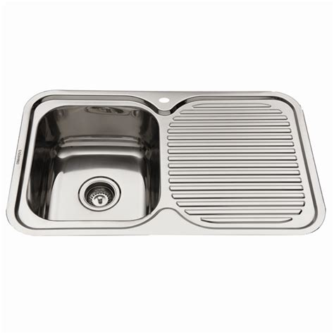 kitchen sinks bowl and drainer everhard 780mm nugleam lh single bowl stainless steel 9589