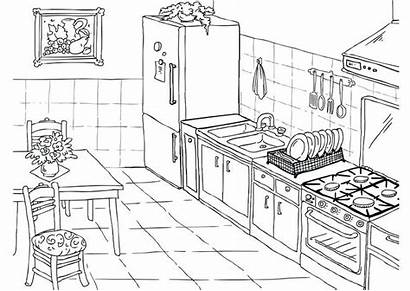 Kitchen Coloring Pages Simple Printable Tools Categories