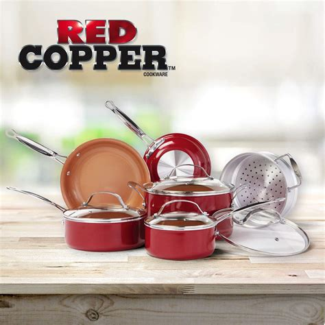 bulbhead  red copper  pc copper infused ceramic  stick cookware set gastrocoach
