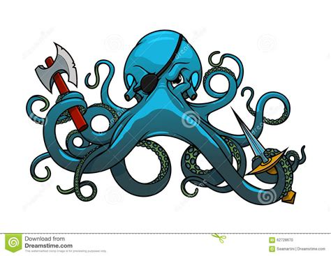 Cartoon : Cartoon Octopus Pirate With Axe And Sword Stock Vector