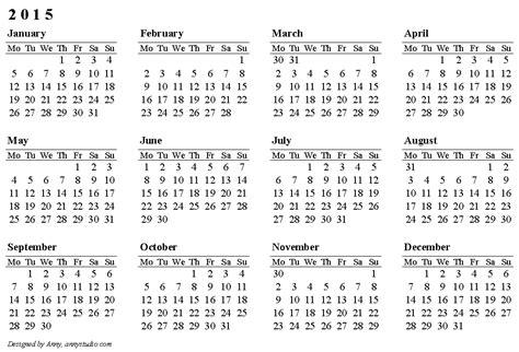 calendars calendar weeks rows start monday