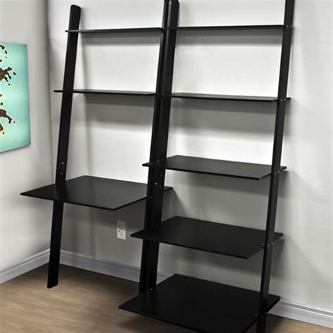 Computer Desk Bookcase by Leaning Shelf Bookcase With Computer Desk Office Furniture