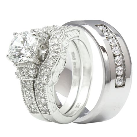 his and hers wedding rings titanium sterling silver bridal matching ring ebay