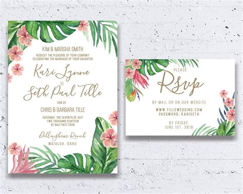 Tropical Wedding Invitation Beach Wedding By Heartwoodpaperie