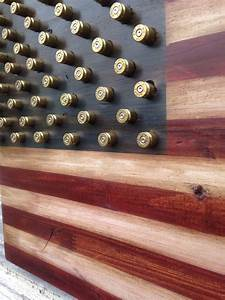 Military 2nd Amendment Wood American Flag w brass bullet stars