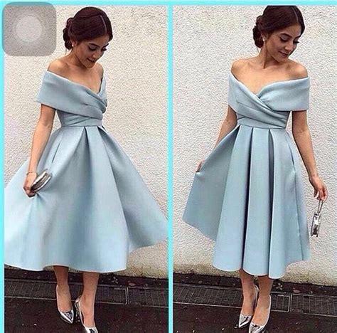 Tea Length Elegant Prom Dresses 2016 Sweetheart Off the Shoulder Evening Party Dress A Line Blue ...