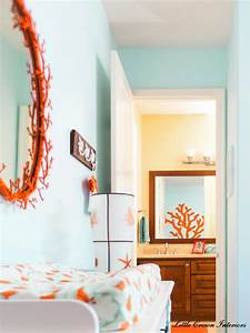 Beach theme boys nursery interior design project reveal for Aqua and coral bathroom
