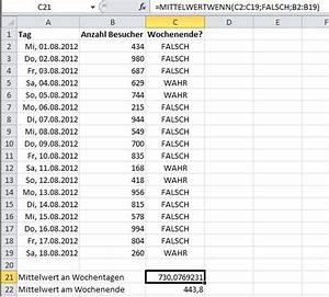 Excel Wochentag Berechnen : mittelwerte mit excel bilden wenn ein anderes kriterium ~ Themetempest.com Abrechnung