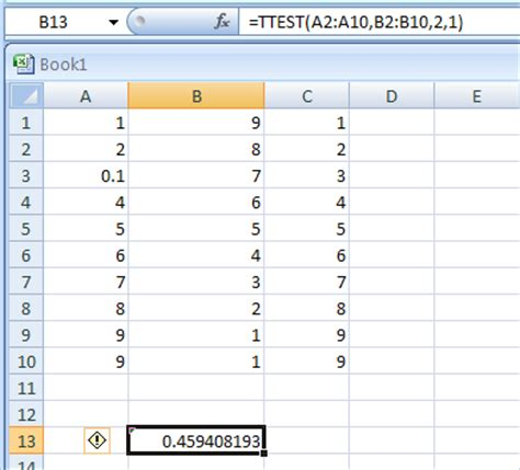 test t student excel ttest array1 array2 tails type returns the probability