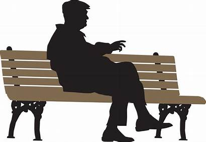 Sitting Bench Person Clipart Silhouette Alone Transparent