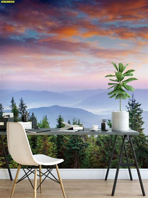 วอลเปเปอร์สั่งพิมพ์ลายวิวภูเขา ป่าไม้ สวยๆ