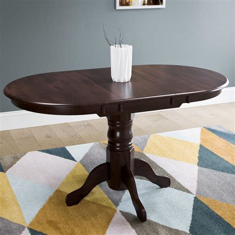 corliving dillon cappuccino stained wood extendable oval