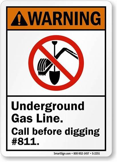 Gas Underground Line Warning Sign Digging Call