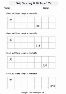 Skip Count By Multiples Of 25 Addition And Counting