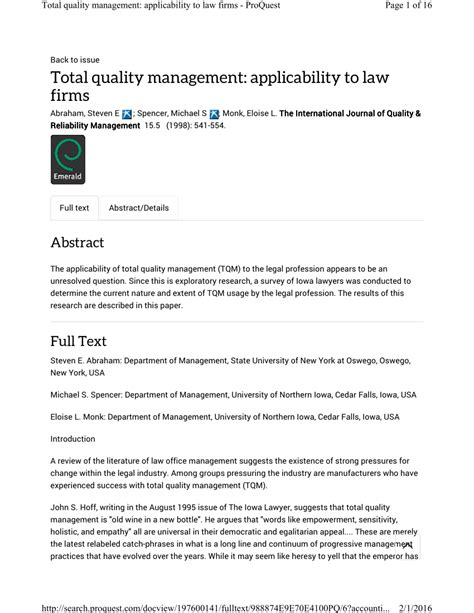 (PDF) Total quality management: Applicability to law firms