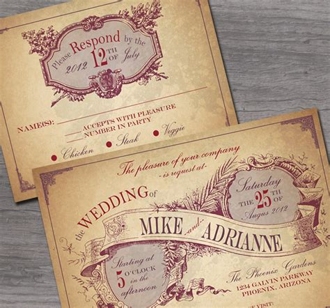 rustic country wedding invitation sample set cottontail