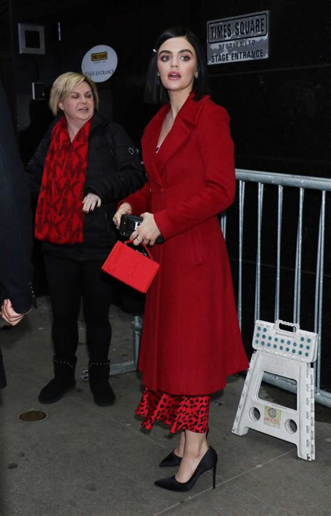 Lucy Hale in a Red Coat Arrives at Good Morning America in ...