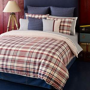 Bedroom: Plaid Bedding Design With Standing Lamp And Blue