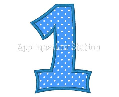 Number One Plain 1st Birthday Applique Machine Embroidery