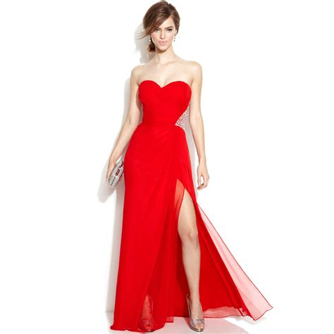 junior bridesmaid dresses macy s xscape strapless embellished cutout gown in lyst