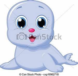 Vector Clip Art of Cute baby seal cartoon - Vector ...