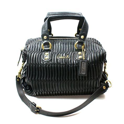 coach ashley gathered leather satchel shoulder bag black