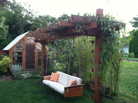 teak made into a pergola swing for the yard