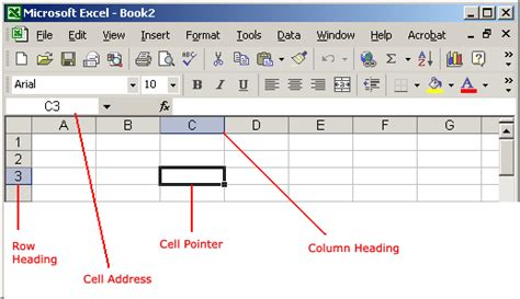 excel xp identifying basic parts of the excel window