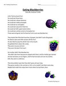 free third grade reading comprehension reading comprehension worksheet blackberries