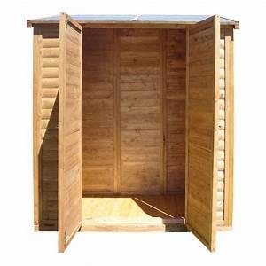remise adossee de jardin en bois traite teinte marron With remise en bois pour jardin