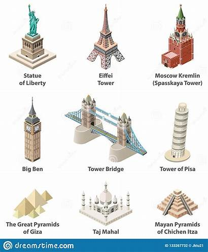 Famous Icons Vector Landmarks Isolated Detailed Isometric